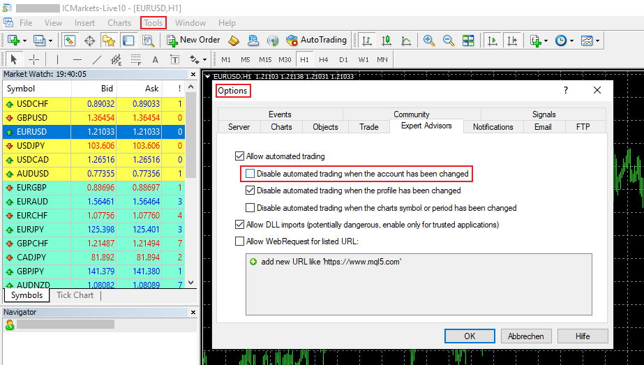MetaTrader Uncheck Disable automated trading when 01 - Preparing for a Forex VPS Failure